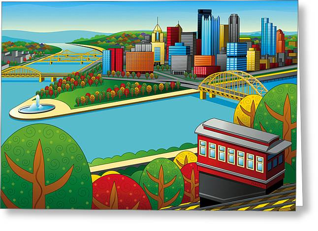 Pittsburgh Digital Greeting Cards - Fall from above rendered Greeting Card by Ron Magnes