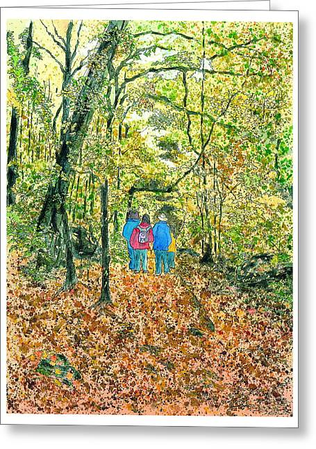 Greeting Card featuring the painting Fall Nymphs  by Joel Deutsch