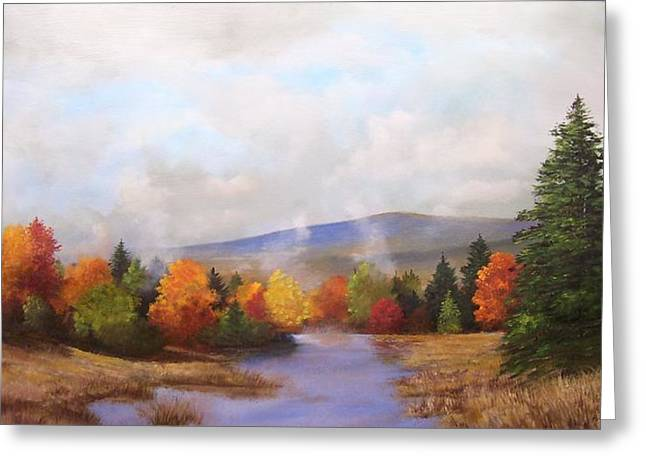 Greeting Card featuring the painting Fall Pond Scene by Ken Ahlering