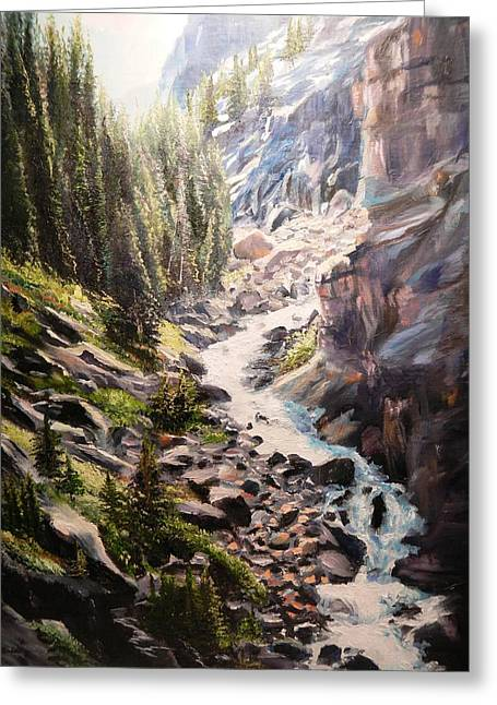 Falls Below Rimrock Lake Greeting Card by Patti Gordon