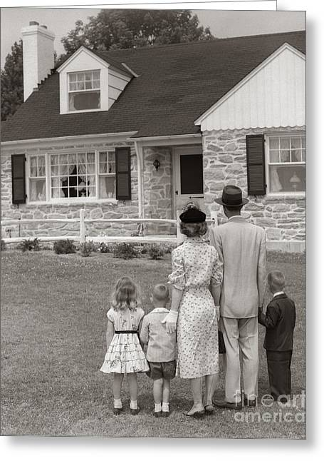 Family Looking At New Home, C.1950s Greeting Card by H. Armstrong Roberts/ClassicStock
