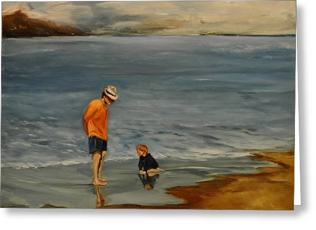 Family On Beach Greeting Card