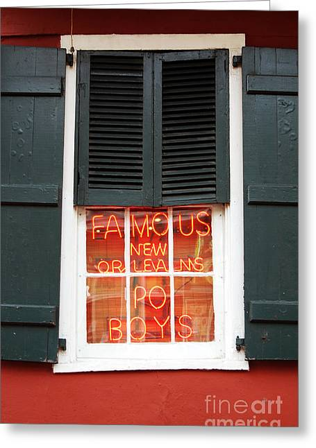 Travelpixpro Greeting Cards - Famous New Orleans PO BOYS Red Neon Window Sign  Greeting Card by Shawn O