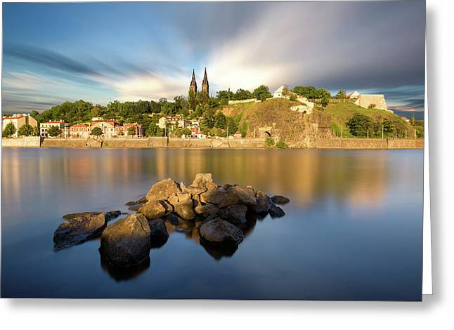 Famous Vysehrad Church During Sunny Day. Amazing Cloudy Sky In Motion. Vltava River, Prague, Czech Republic Greeting Card