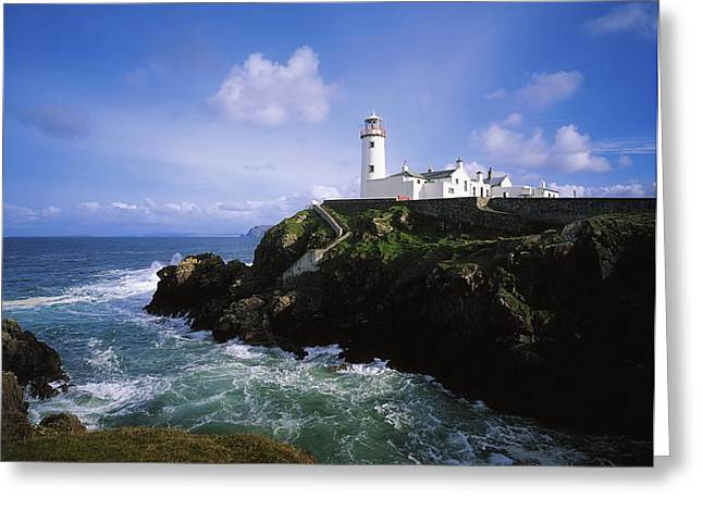 Towering Sea Cliffs Greeting Cards - Fanad Lighthouse, Co Donegal, Ireland Greeting Card by The Irish Image Collection