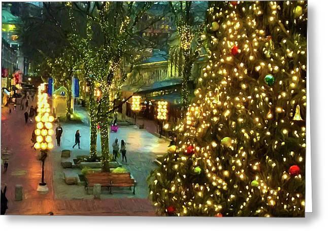 Faneuil Hall Christmas Greeting Card by Joann Vitali