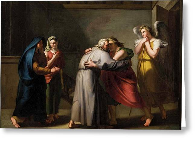 Farewell Of Tobias From His Blind Father With The Angel Raphael Greeting Card