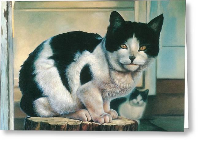 Farm Cat Greeting Card by Hans Droog