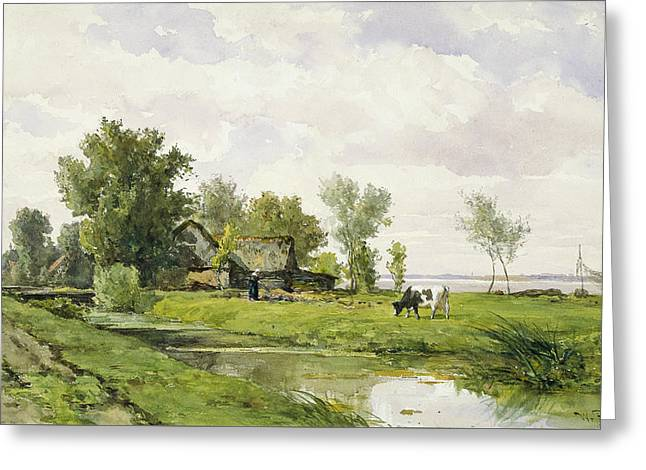 Farm On A Ditch Greeting Card