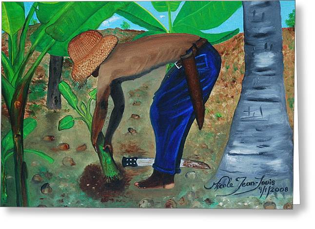 Greeting Card featuring the painting Farmer Planting Banana Tree by Nicole Jean-Louis