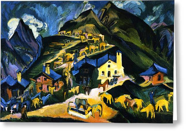 Farmers Driving Cattle To A Alpine Pasture Greeting Card by Ernst Ludwig Kirchner