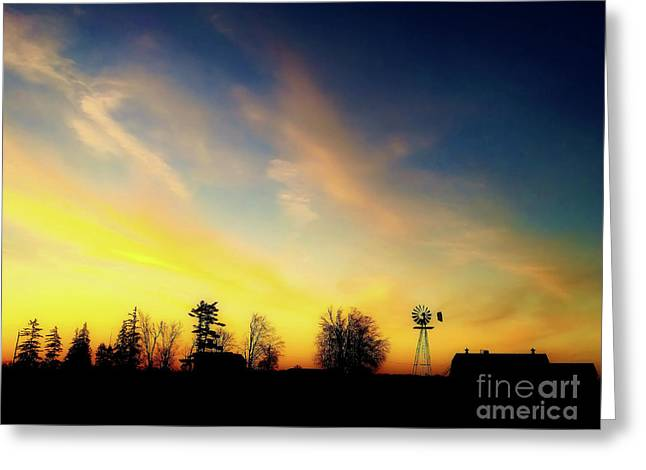 Farmers Sunset Greeting Card by Anthony Djordjevic