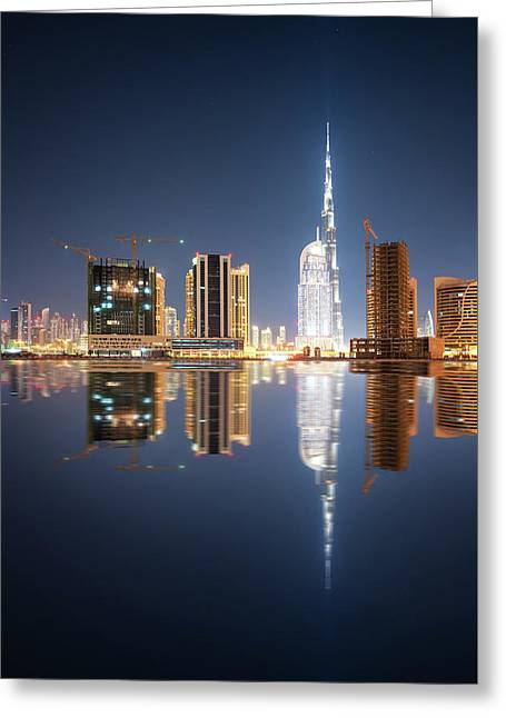 Fascinating Reflection Of Tallest Skyscrapers In Business Bay District During Calm Night. Dubai, United Arab Emirates. Greeting Card