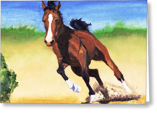 Greeting Card featuring the painting Fast Horse by Sherril Porter
