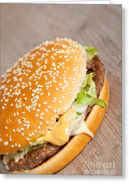 Cheeseburger Greeting Cards - Fat hamburger sandwich Greeting Card by Sabino Parente
