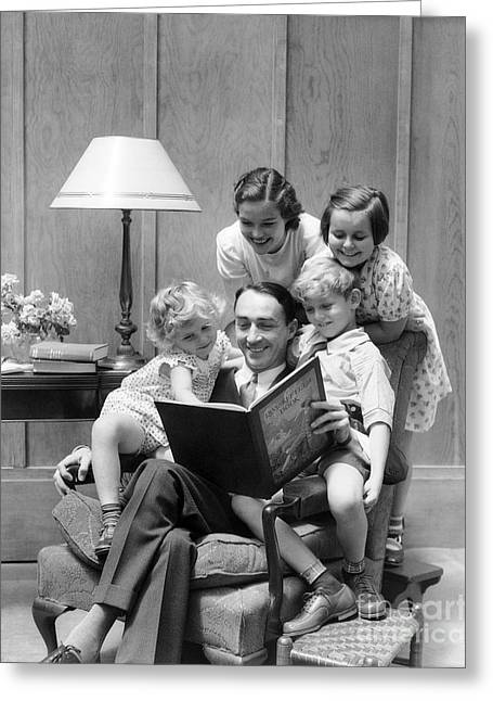 Father Reading To Family, C.1930s Greeting Card
