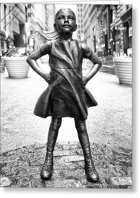 Greeting Card featuring the photograph Fearless Girl Bnw by Rand