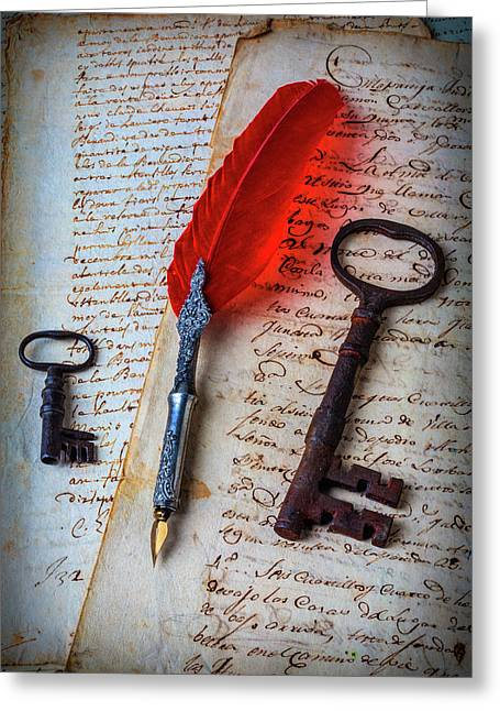 Feather Pen And Old Keys Greeting Card