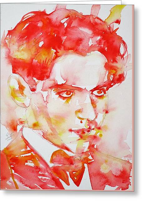 Greeting Card featuring the painting Federico Garcia Lorca - Watercolor Portrait by Fabrizio Cassetta