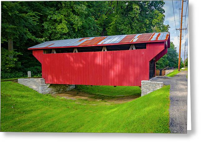 Feedwire Covered Bridge - Carillon Park Dayton Ohio Greeting Card by Jack R Perry