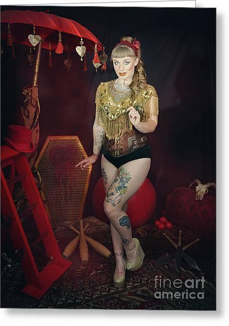 Female Circus Performer Greeting Card by Amanda Elwell