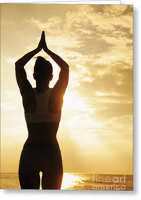 Attract Health Greeting Cards - Female doing Yoga at sunset Greeting Card by Brandon Tabiolo - Printscapes
