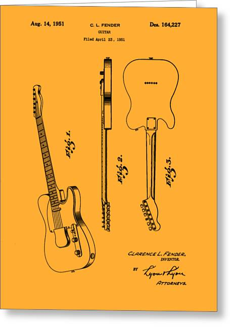 Fender 1951 Electric Guitar Patent Art - B  Greeting Card