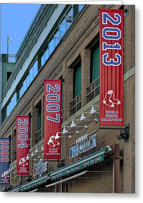 Fenway Boston Red Sox Champions Banners Greeting Card by Susan Candelario