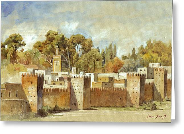 Fes Morocco Orientalist Painting Greeting Card
