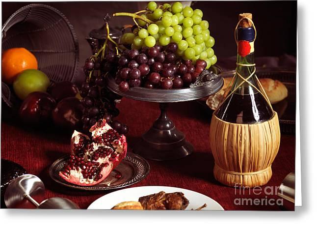 Festive Dinner Still Life Greeting Card by Oleksiy Maksymenko