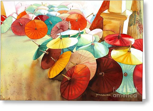 Festive Umbrellas Greeting Card by Yolanda Koh