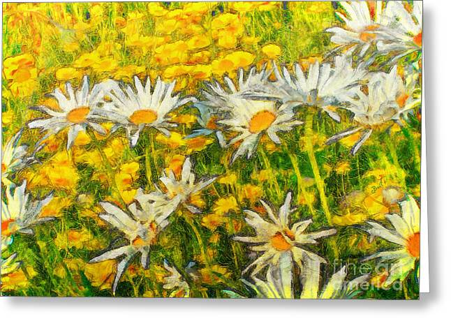 Field Of Daisies Greeting Card by Claire Bull