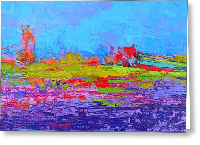 Field Of Flowers Modern Abstract Landscape Painting - Palette Knife Work Greeting Card