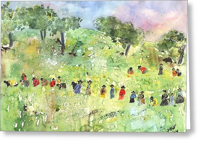 Field Workers Greeting Card by Joyce Ann Burton-Sousa