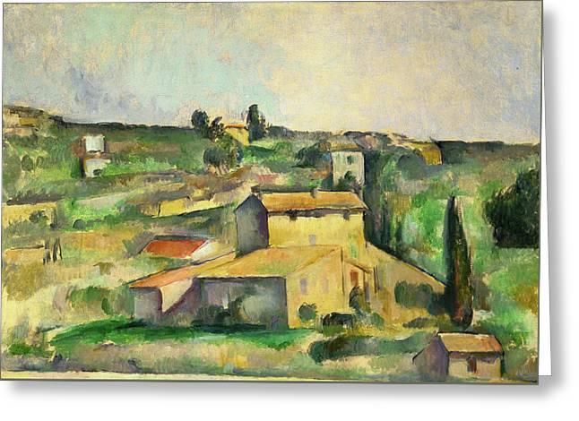 Fields At Bellevue  Greeting Card by Paul Cezanne