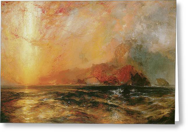 Fiercely The Red Sun Descending Burned His Way Along The Heavens Greeting Card by Thomas Moran