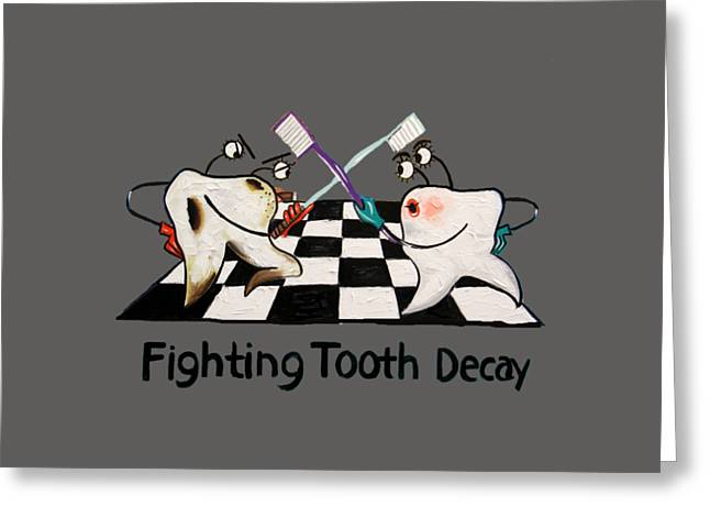 Fighting Tooth Decay Greeting Card by Anthony Falbo