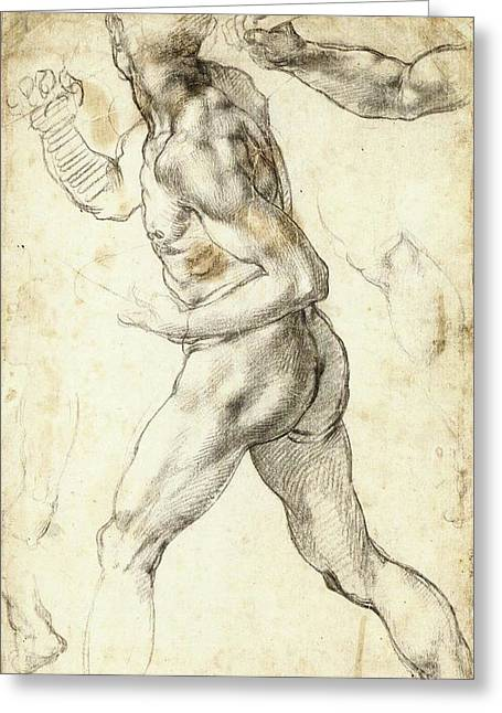 Figure Study Of A Running Man Greeting Card by Michelangelo Buonarroti
