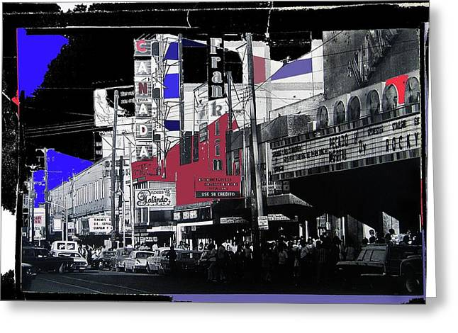 Film Homage Rocky 1976 Us Mexico Border Town Collage Juarez Chihuahua Mexico 1977-2012 Greeting Card by David Lee Guss