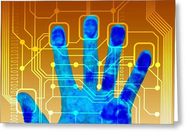 Equipment Greeting Cards - Fingerprint Scanner, Artwork Greeting Card by Pasieka