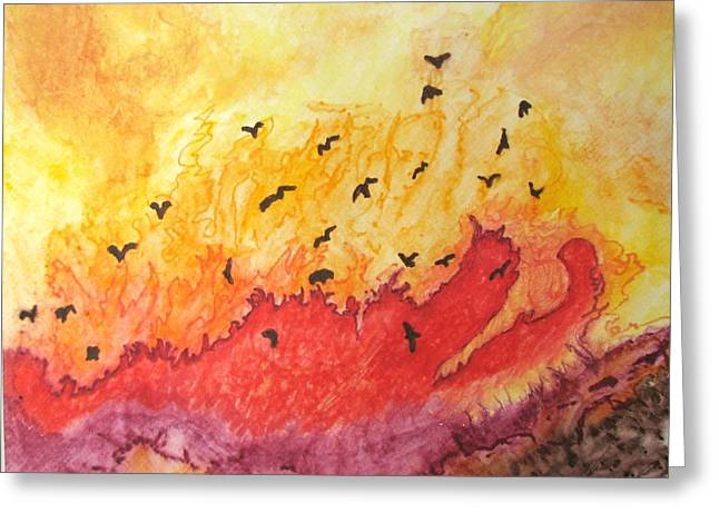 Fire Greeting Cards - Fire Birds Greeting Card by Patricia Arroyo
