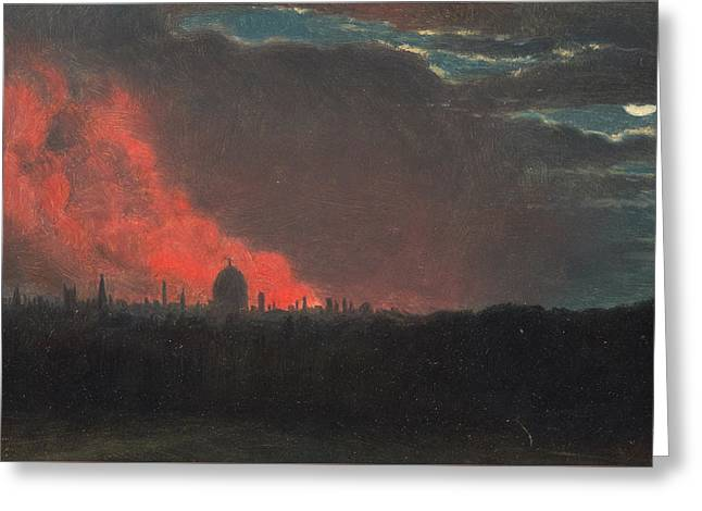 Fire In London, Seen From Hampstead Greeting Card by John Constable