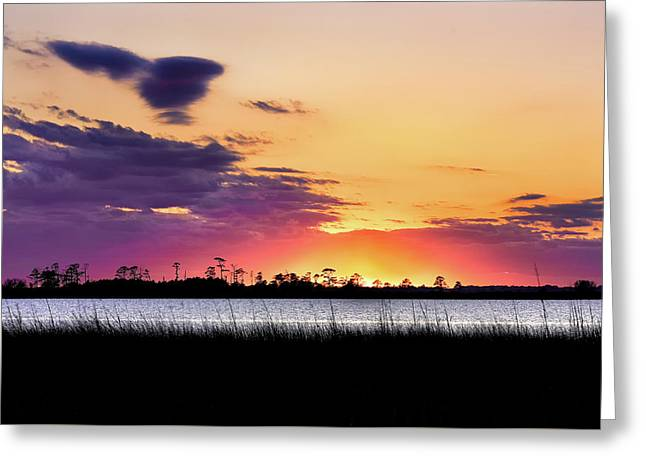 Fire Over Back Bay Greeting Card by Jeremy Clinard