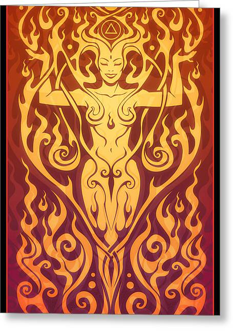Sacred Digital Art Greeting Cards - Fire Spirit Greeting Card by Cristina McAllister