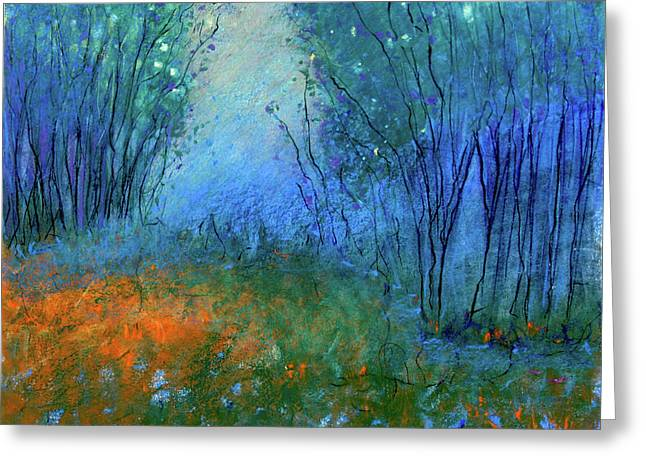Night Time Pastels Greeting Cards - Firefly Forrest Greeting Card by Jane Wilcoxson