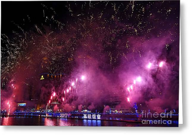 Greeting Card featuring the photograph Fireworks Along The Love River In Taiwan by Yali Shi