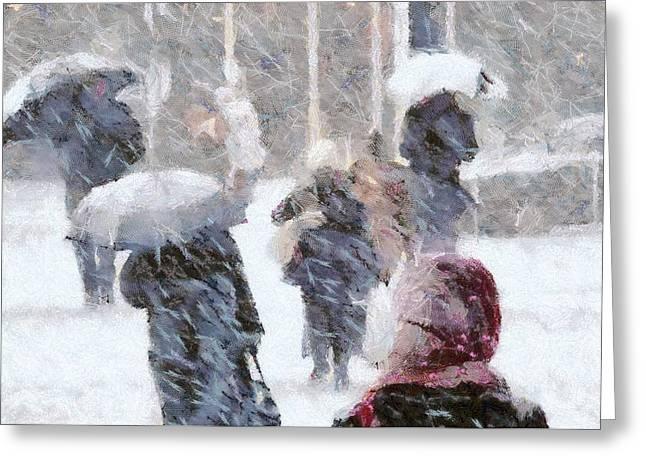 Greeting Card featuring the digital art First Snow by Gun Legler
