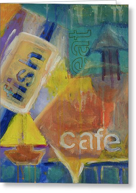Greeting Card featuring the painting Fish Cafe by Susan Stone