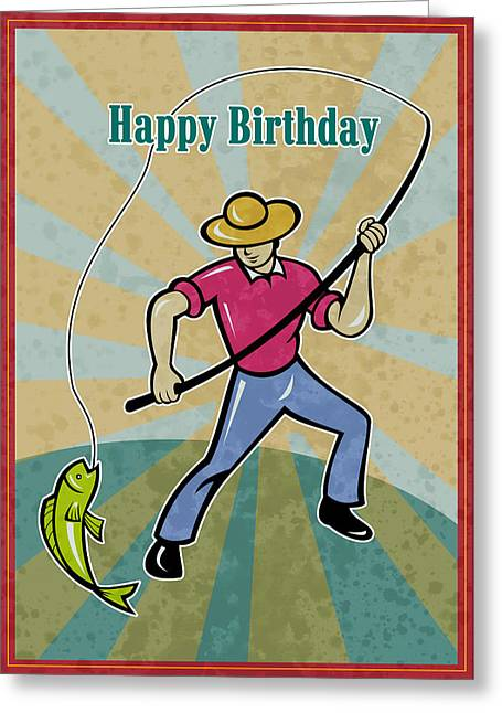 Fisherman Catching Fish Greeting Card by Aloysius Patrimonio