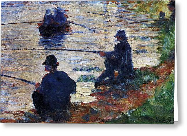 Fishermen On The Banks Of The Seine Greeting Card by Georges Seurat